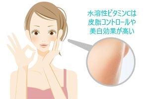 水溶性ビタミンCは、皮脂コントロールや美白効果が高い