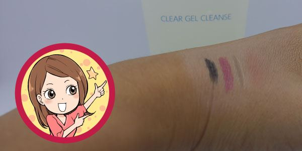 ジェルタイプのクリアゲルクレンズのメイク落ちテストで手の甲にアイライナー、口紅、眉墨を塗った写真