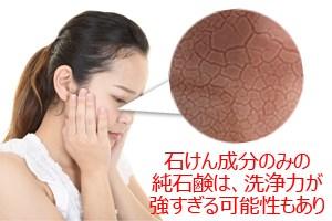 石けん成分のみの純石鹸は洗浄力が強すぎる可能性あり