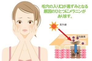 毛穴の入り口が黒ずみとなる原因のひとつにメラニンがあります。